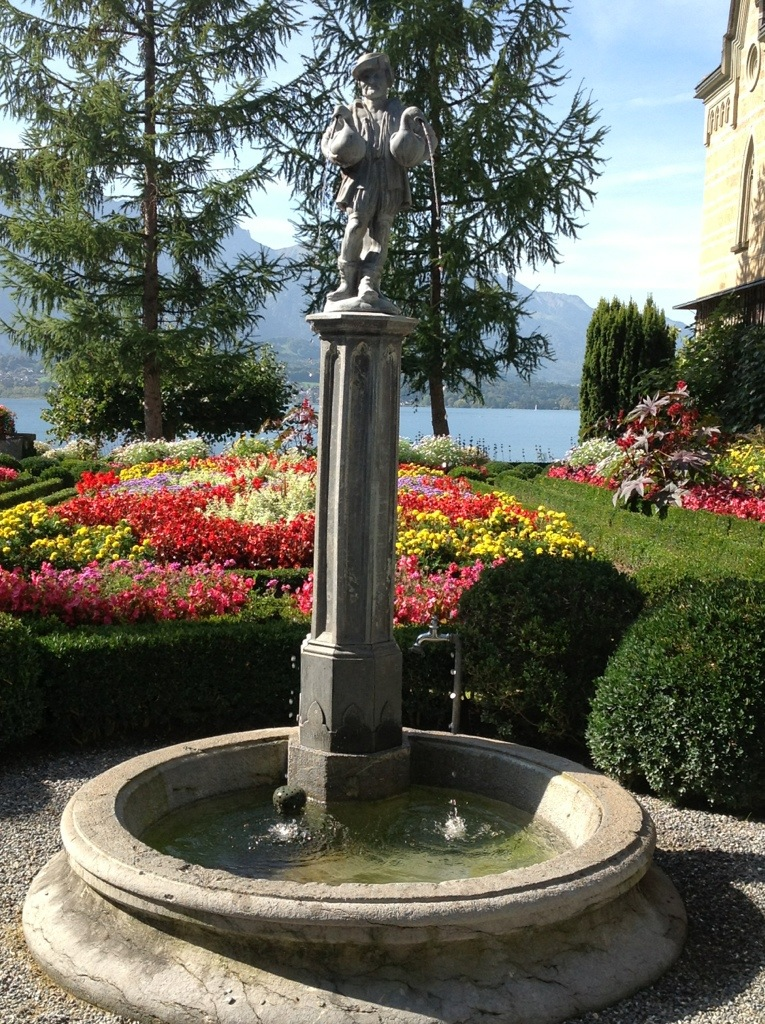 Fountain at Oberhofen Castle on Lake Thun, Switzerland